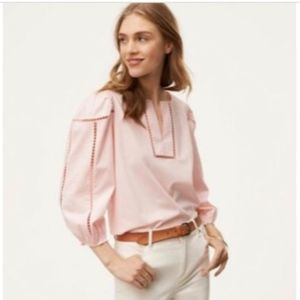 LOFT  Split Neck Cutout Blouse  Top PXXS PINK